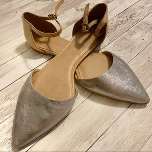 Madewell Silver Pointed Toe Ankle Strap Flats SZ10